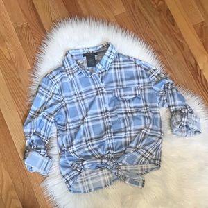 Blue Plaid Tie Front Shirt